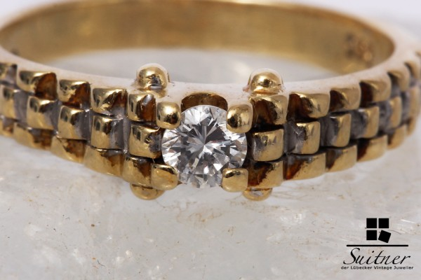 Brillant Ring 0,20 ct feines Weiß / VVS - VS 585 Gold Gr. 54