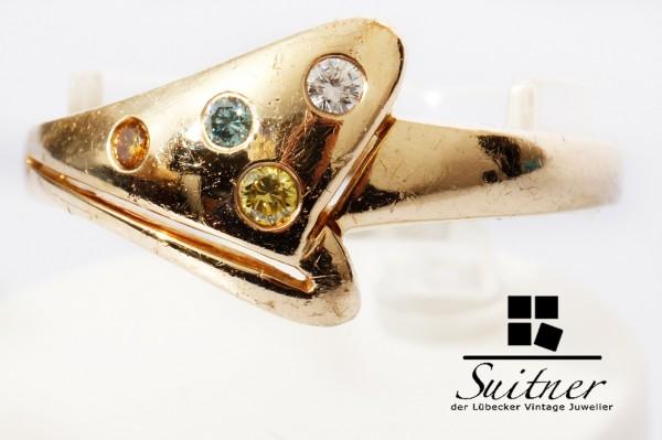wertvoller Brillant Ring 585 Gold mit farbigen Diamanten Blau Gelb Orange Gr. 61