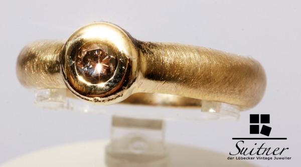 Unikat Solitär Ring mit Fancy Brown Brillant 585 Gold mattiert Gr. 53,5