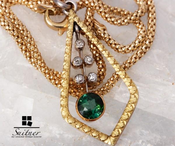 585er Gelbgold Kette mit Diamanten und Turmalin antik