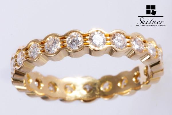 hochwertiger Memoire Ring mit ca. 1,26 ct 750 Gold Gr. 57 moderner Luxus