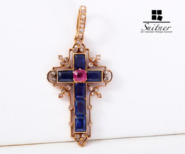 Kreuz Anhänger 750 Gold Diamant Saphir Rubin
