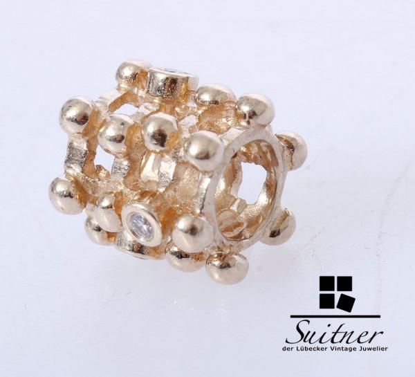 Pandora Charm Matrix 585 Gold mit Steinbesatz Beads Brillant