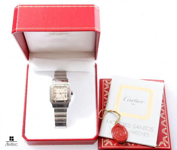 große Cartier Santos Galbee Box Papiere Herrenuhr Datum 987901 Full Set