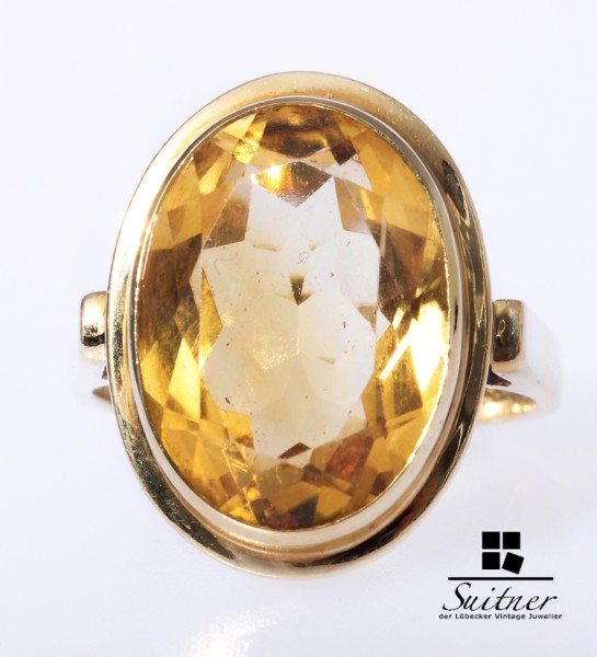 Ring Citrin ca. 10 ct. 585 Gold Gr. 59,5