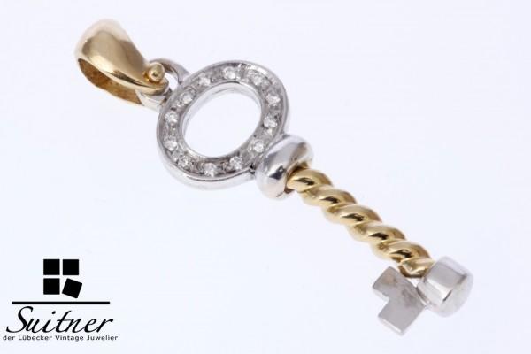 Schlüssel Charm Anhänger mit Brillanten aus 750/- Gold