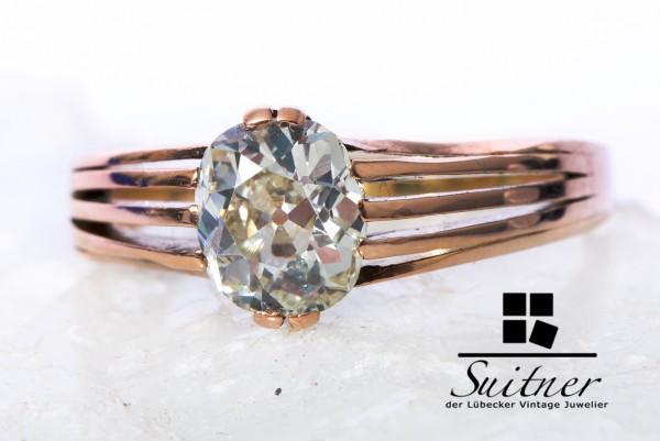 antiker Diamant Ring ca.1,80ct 585 Gold Gr. 61 Altschliff von enormer Größe