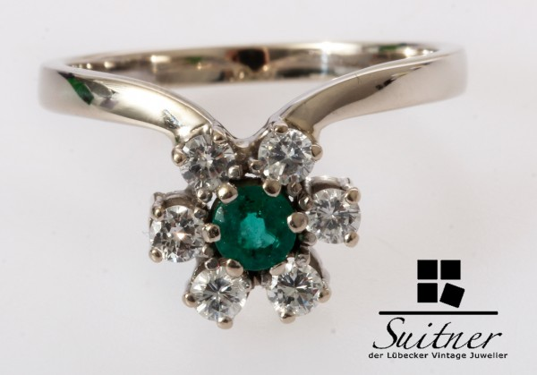 klassischer Smaragd Brillant Ring 585 Weißgold Gr. 56,5 Blüte