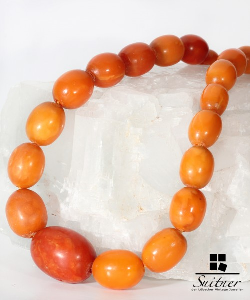 antike Bernstein Butterscotch Oliven Kette - real Amber big Prayer Beads
