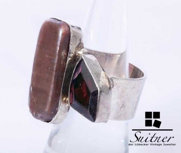 Aussergewöhnlicher Design-Ring aus 925er Silber mit Farbsteinbesatz