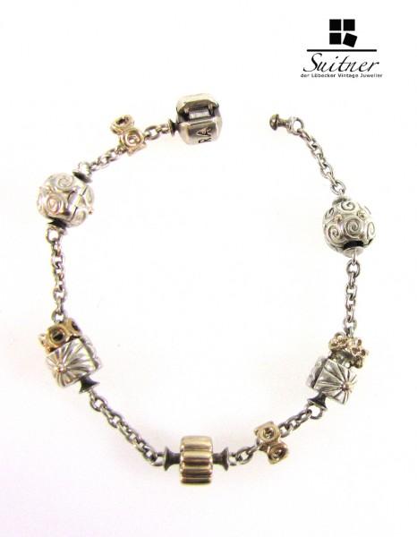 Pandora Armband Silber 585 Gold selten bicolor