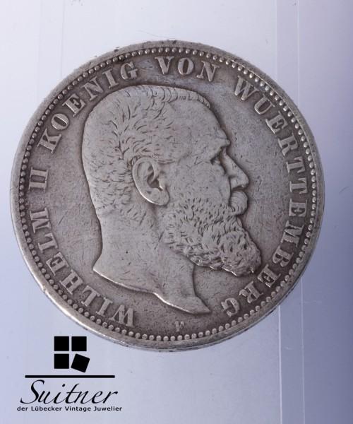 5 Mark Württemberg 1903 F SS-VZ Wilhelm II König RAR