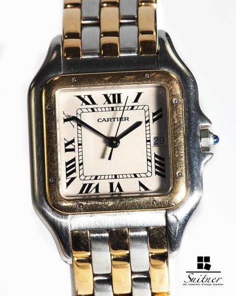 Cartier Panthere Jumbo Modell Stahl / Gold mit 3 Reihen Gold TOP Luxusausführung