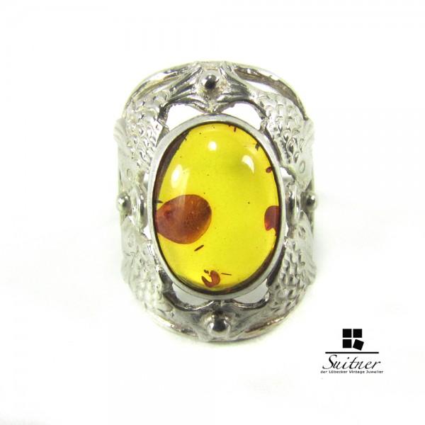 Original Fischland Bernstein Ring aus Silber mit Fischen Amber Handmade 52
