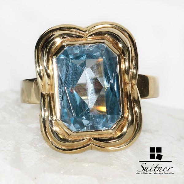 Antiker großer Blautopas Ring aus Gold wie Aquamarin Art Deco Stil
