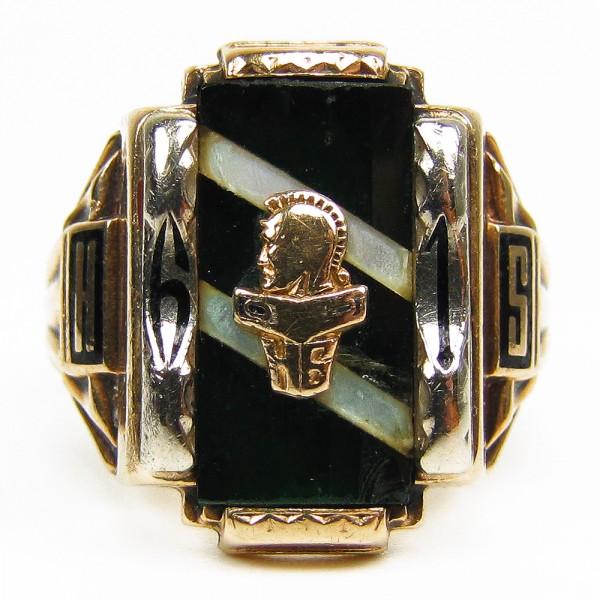 antiker College 1961 Highschool Ring USA 375 Gold grün Gr. 64 Josten
