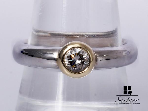 Massiver 585 Weißgold Ring mit Solitäre Brillant Gr. 57