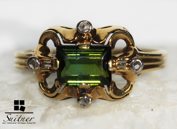 Ring antik um 1900 grüner Turmalin 585 Gold Diamantrosen