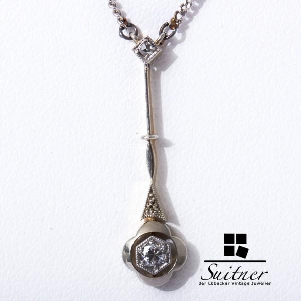 Jugendstil Lavaliere mit Brillant 585 Gold Collier Kette Diamant Art Nouveau