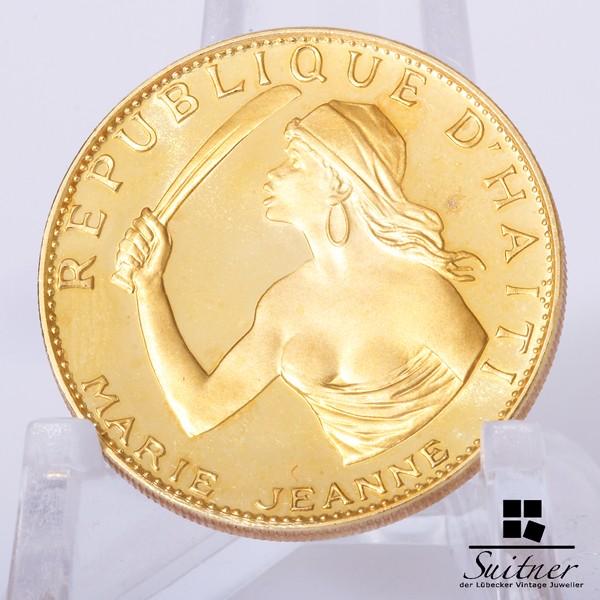 100 Gourdes Haiti 900 Gold Marie Jeanne 1967 sehr Selten