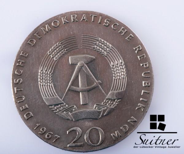 DDR 20 Mark Silber Wilhelm von Humboldt 1967 mindestens VZ
