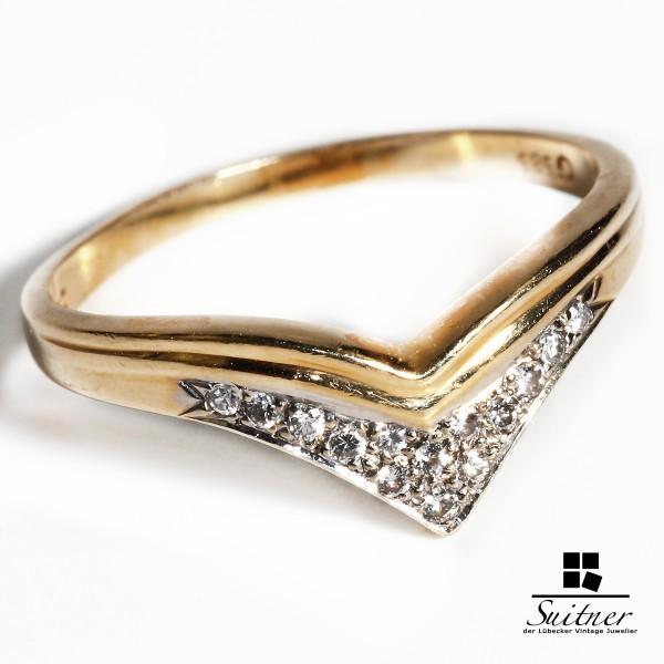 moderner Ring aus 585 Gold mit 14 Brillanten Gr. 58