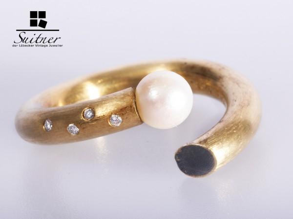 Ring 925er Silber 750 Gelbgold Perle Diamant