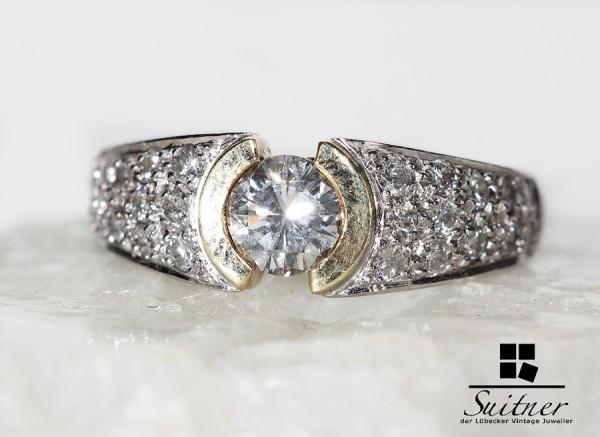 wertvoller 0,90ct. vvsi Brillant Ring aus 585 Gold Weißgold mit Gutachten