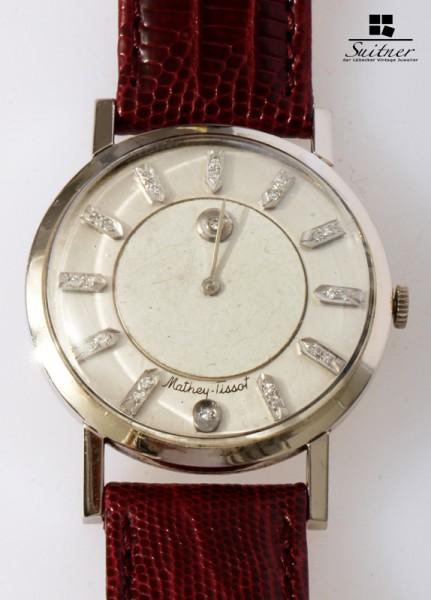 seltene Mathey Tissot Art Deco Mystery Dial Uhr mit Diamanten 585 Weißgold