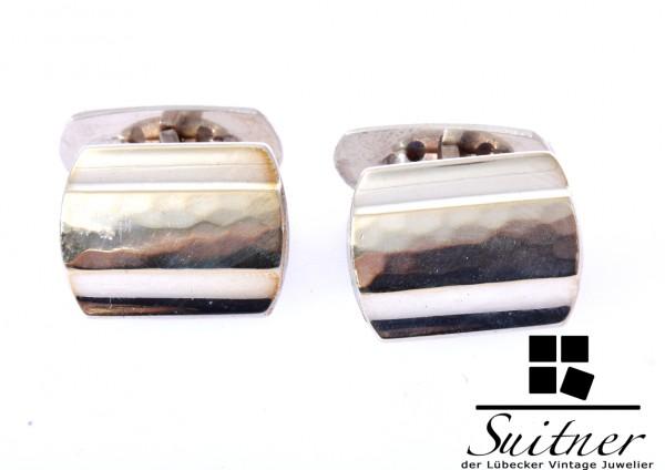 Art Deco Manschettenknöpfe aus 835 Silber mit gehämmerter Fläche