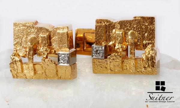 Lapponia Manschettenknöpfe 750 Gold Brillanten Björn Weckström Finnland