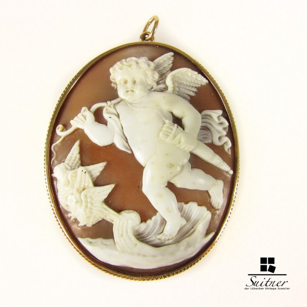 riesige antike Amor / Putto Kammee Gemme XL 585er Gold Anhänger Pendant
