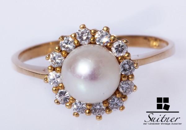 Perlen Brillant Ring 750 Gold Brillanten Gr. 56