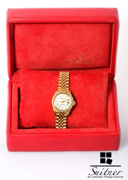 Rolex Lady Datejust in Gold Ref. 6927 mit Brillant Lünette in Box Top Zustand