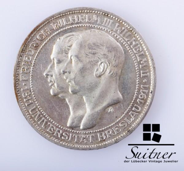 3 Mark Deutsches Reich Wilhelm III 1911 A Universität Breslau VZ