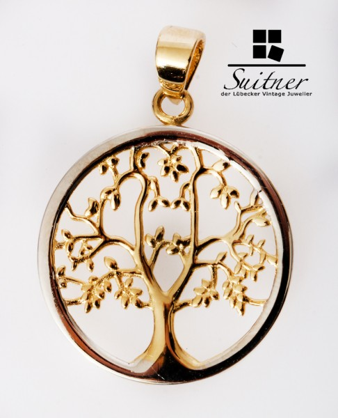 Lebensbaum Anhänger 585 Gold - rundes Design floral Baum Pendant