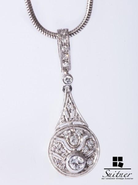 Art Deko Lavaliere Kette mit Anhänger Weißgold 750 Brillanten Diamanten
