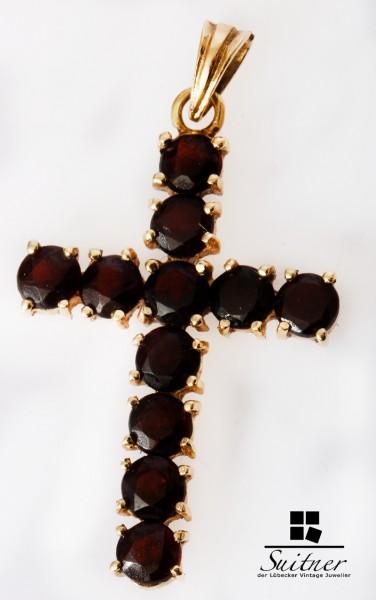 großes Vintage Granat Kreuz Anhänger aus 585 Gold - Gelbgold