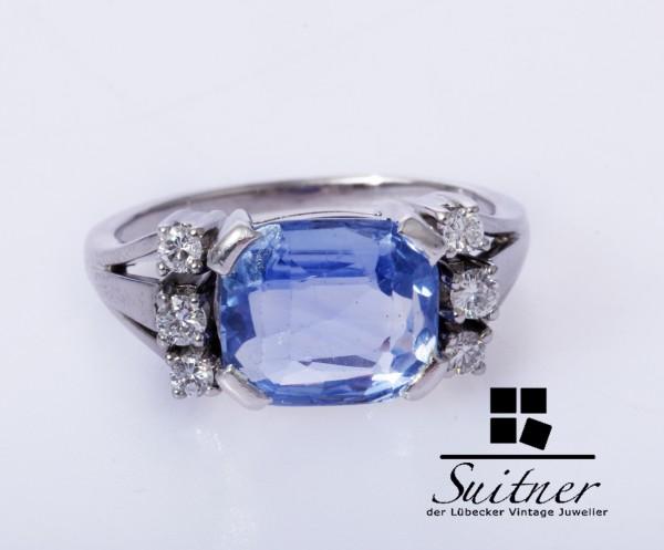 klassischer 4,00ct. Ceylon Saphir Brillant Ring 750 Weißgold Gr. 53