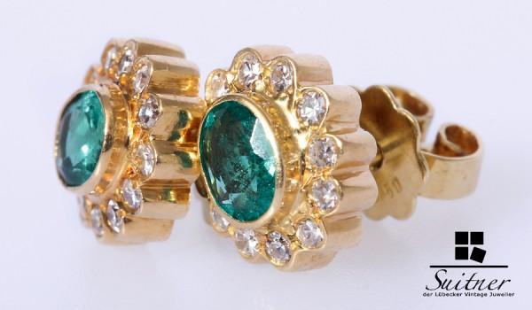Ohrstecker Diamanten hervorragende Smaragde 750 Gold zus. 0,24 ct.