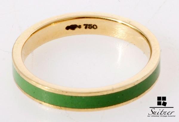 Niessing Emaille Ring aus 750 Gold - grüne Einlage Farbspiel RG 52