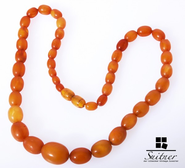 Bernsteinkette Olive real Amber - prayer Beads Bernstein Butterscotch