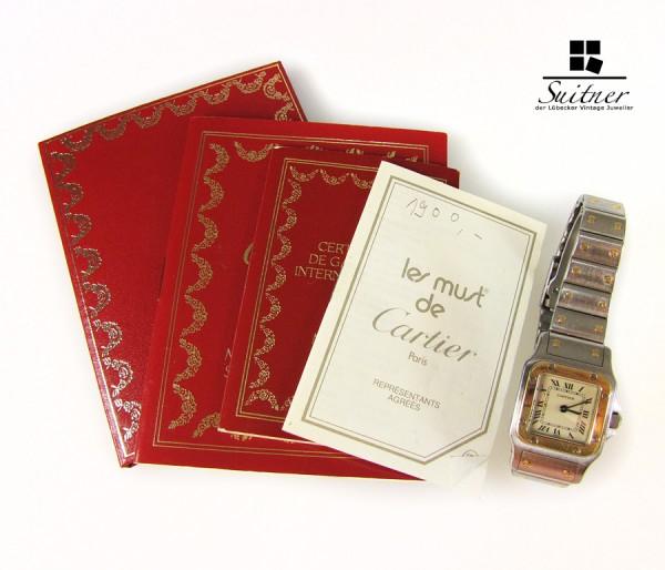 Cartier Santos Lady Stahl Gold mit Papieren - Luxus Uhr für Sie