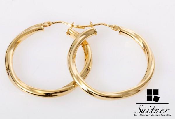 riesige XL Creolen 585 Gold im gedrehten Design neuwertige Ohrringe