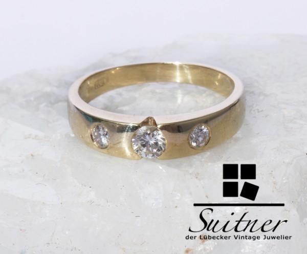 zeitloser Bandring mit 0,40ct Brillanten Ring aus 585 Gold Gr. 56 3 Steine