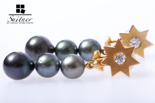 wertvolle Tahiti Perlen Clips mit Brillanten ca. 0,40 ct / 750 Gold