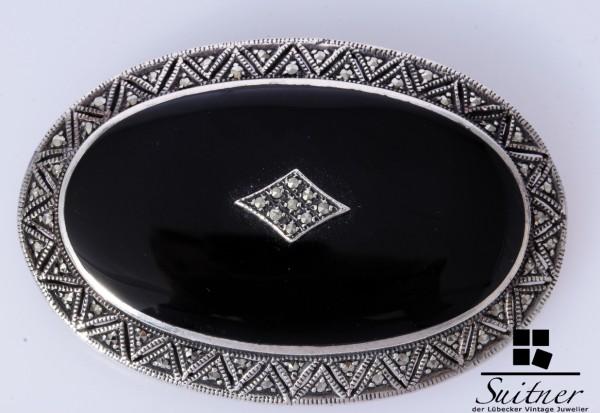 prächtige große Onyx Silber Brosche mit Markasit Design oval