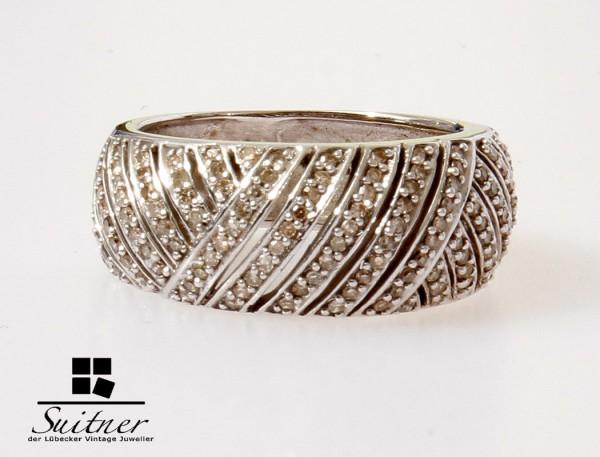 großer 0,50ct Diamant Ring 585 Weißgold Gr. 56 Brillanten Art Deco modern