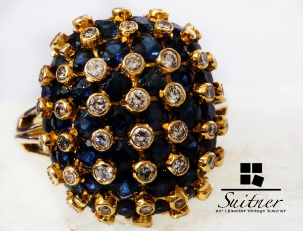 Vintage Ceylon Saphir Brillant Ring 750 Gold 1950 Jahre Gr. 55,5 Kornblumen