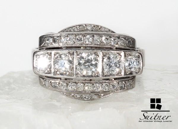 Art Deco 1,30ct. Brillant Ring aus 585 Weißgold enormer prachtvoller Ring